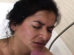 Mature ugly bitch takes facial