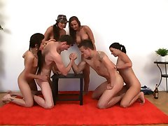 Spicy Roulette. Sex arm wrestling super contest at the party