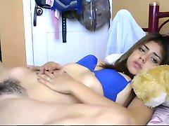 Teen Hairy Latin Girl Masturbating Herself