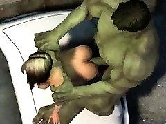 3D-tegnefilm jente blir knullet ute ved Hulk