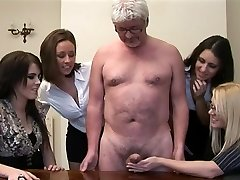 Gals give handjob to a perv older man