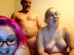 ugly chubby daughters double-blowjob not their meaty daddy