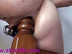 Extreme Rectal Fucking Insertions Fisting self Bedpost & Bat