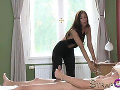StrapOn - Sexy brunette enjoys pegging BF