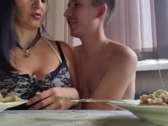Russian Mature Mommy with Her Stud in the Kitchen
