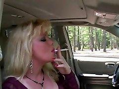 Hot Ash-blonde Milf Smoking & Sucking In Fishnets & Heels