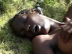 Hairy Thin African Teen on BWC