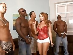 Five interracial guys lineup so that housewife Janet Mason can choose the hottest