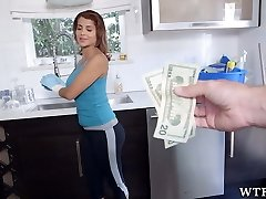 Pretty maid will clean nude for money