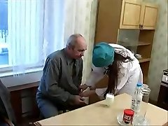 Nice Nurse Teen tempted by ugly Old Patient