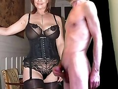 cuckold cum for mature huge-boobed wife in stockings
