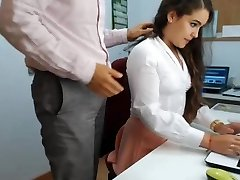 super hot black-haired secretary playing in office 1
