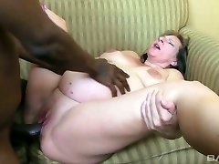 Ugly pregnant blond haired whore rides and gargles massive black cock