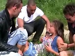 Hawt Czech Hotty and 3 Mates double invasion Outdoors