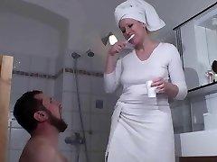 Femdom Ladies abase slaves in bath