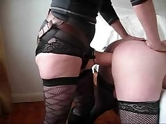 Husband takes a huge dong up his bum from wife