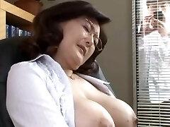 Japanese college director masturbates in the office