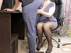 Teen lady boss seduced her employee and gave him jizz in panties