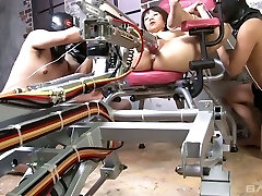 Several dudes fuck naughty Japanese lady tie sup to a gyno chair