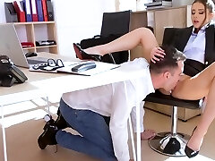Russian business woman in the office gets an orgasm from spunky fu...