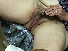 old unshaved granny enjoys cum
