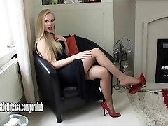 Scorching young blonde wearing sexual and very softcore high heel shoes