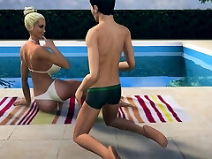 Alex 19 saw his sunbathing stepmom