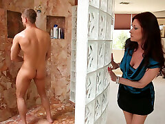 Super-naughty and nasty Tiffany Mynx catches the dude coming out of the shower to ravage him
