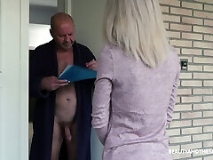 Young 19 yo post girl Missy Luv gets intimate with old bare exhibitionist