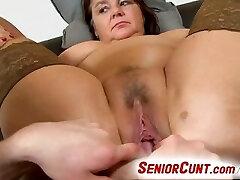 Fat lady Eva aged vagina finger-tickled and toyed pov zoom