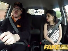 Fake Driving School Rough back seat shag for diminutive infatuated learner