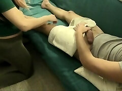 DICK FLASH during MASSAGE: VIRGIN stepsis SEES Chisel: Grabs it angrily! REACTION: NOT SO HAPPY ENDING