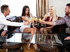 Two ladies in stockings and the boys had on the same couch group sex SV