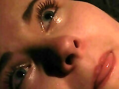 Orgasm and weeping in pain in BDSM bondage