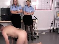 Uniformed femdoms mistreat shoe fetish sub