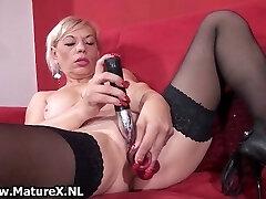 Dirty old slut gets all horny frolicking