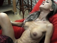 Skinny MILF lapdances, gives BJ and pummels in few positions