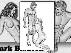 Erotiska Teckningar av Marc Blanton - Nymfer och Satyr 2