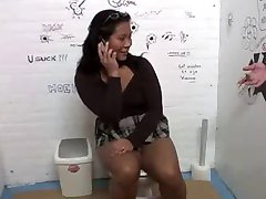 GloryHole in toilet for asian chick