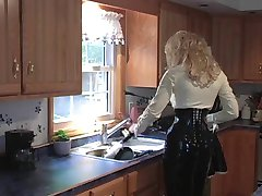 Cute blonde dresses the slut in leather