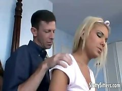 Blonde teen babysitter banged good