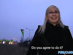PublicAgent Outdoor fucking with sexy blonde in glasses