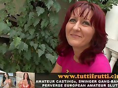 real amateur EURO MILF perverse pee and anal porn casting