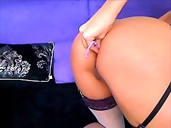 LisaShaw fuck her pussy and ass in nylon stocking