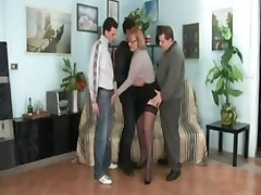 Italien Mature - 3 man gang bang