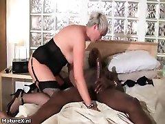 Horny grandma loves riding a big black part6