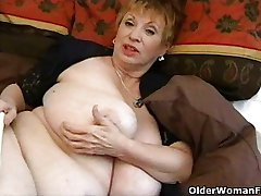 Fat granny, سکس با mammaries toying