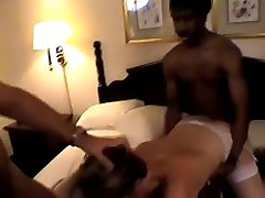 Hubby Coaches Hotwife with a Roomful of Cock