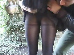 Cassie, fucked in pantyhose in forest