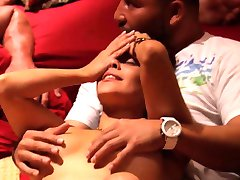 Amateur couple tries the swingers room for the first time